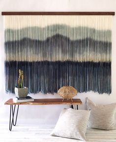 Your place to buy and sell all things handmade Yarn Wall Hanging, Diy Hanging, Wall Hangings, Tapestry Weaving, Wall Tapestry, Wall Accessories, Mid Century Modern Art, Concrete Wall, Diy Wall Art