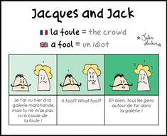 Les faux-amis entre le français et l'anglais sont nombreux. Apprenez à déjouer ces pièges avec humour grâce à nos amis Jacques & Jack ! Funny French, French Words, Learn French, Fun Learning, Have Fun, Teacher, Education, Twitter, Fle