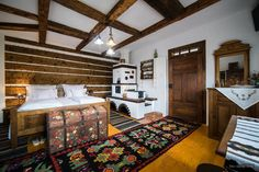 #Agriturism, in Bucovina , #Romania. #typical agriturism found in Bucovina. Traditional Interior, Traditional House, Traditional Design, Rustic Home Design, Rustic Decor, Interior Decorating, Interior Design, Cabin Interiors, Log Homes