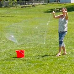 Simple recipe for homemade bubble solution that creates truly giant bubbles. Even small children can make huge bubbles with this solution.