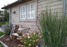 Schicke Optik: Gartenhaus Rhön im Vintage-Look Outdoor Structures, Vintage, Garden, Outdoor Decor, Wellness, Home Decor, Hobbit Houses, Garden Arbor, Garten
