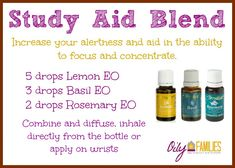 Study Aid Blend - Lemon, Basil, Rosemary Essential oils - diffuse and apply topically!