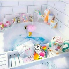Take a dip into relaxation with some gorgeous bath inspiration for your pamper days! My New Room, My Room, Girls Bedroom, Bedroom Decor, Kawaii Bedroom, Dream Bath, Unicorn Rooms, Relaxing Bath, Unicorn Party