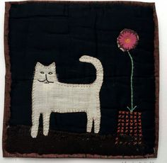 Unframed appliquéd white cat with embroidery: Mandy Pattullo