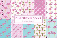 Flamingo Cove Seamless Patterns by Lilly Bimble on @creativemarket