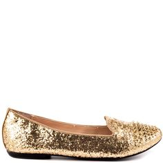 Be a dear and grab the Bambbi before this edgy style sells out.  This Betsey Johnson flat features a gold glitter upper with gold spiky studs capping the toe.  A padded insole insures a comfy step while you're strutting your stuff.