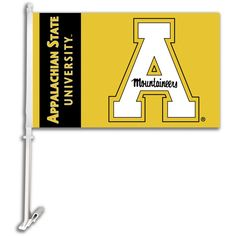 255393198dd67 App State Mountaineers Car Flag with Wall Bracket - Black   Gold State  University