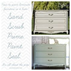 How to paint laminate furniture. Remember to seal as specified in comments, leave time fir curing and use foam rollers. lollyjane.com