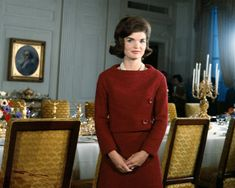 American first lady Jacqueline Kennedy poses during her television tour of the White House on Valentine's Day, United States, 1962, photograph by CBS Television.