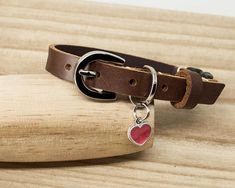 Leather Cat Collar  Cat Collars  Pink Heart Pendant  safety
