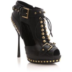 Alexander McQueen Spring 2011 studded lace-up ankle bootie; also in white and gold snakeskin. Dream Shoes, Crazy Shoes, New Shoes, Me Too Shoes, Bootie Boots, Shoe Boots, Alexander Mcqueen Shoes, Lace Up Ankle Boots, Ankle Booties