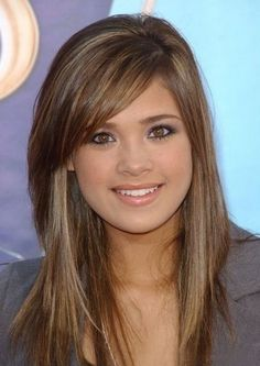 Hairstyle Long with Swept Bangs | Long Straight Layered Hairstyles with Side Swept Bangs