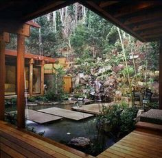 15 Unique Garden Water Features WATER FEATURE - This garden, designed by David Hertz, takes advantage of the natural landscape of Yachats, Oregon, and combines it with the simplicity of Asian garden design. Photo by David Papazian Asian Garden, Balinese Garden, Outdoor Rooms, Outdoor Living, Indoor Outdoor, Outdoor Privacy, Outdoor Tiles, Outdoor Patios, Outdoor Retreat