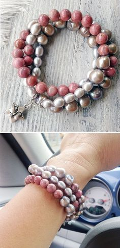 """Triple wrap beaded bracelet. It is a beautiful combination of rose rhodonite, fine silver pearls and large rough gray pearls. """"Random"""" arrangement of different size, shape and color of the beads makes the bracelet very attractive. Silver plated charm-star with a face, as a symbol of happiness. And it is very convenient lobster clasp. Can be worn as necklace."""