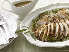 If cooking a whole turkey seems overwhelming, try this Lemon Herb Butter Roasted Turkey Breast recipe. Much simpler to make and it will do the trick nicely.