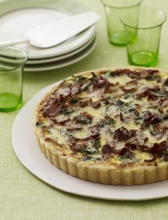 Onion, Bacon, and Spinach Tart from familycircle.com #myplate