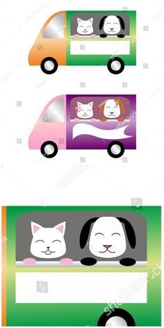 #vector #illustration #Colorful #cars with #cat and #dog at the window