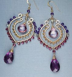 Exotic Bohemian Purple Gold Earrings Hoop Gemstone Earrings