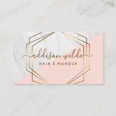 Geometric Marble Modern Blush Pink Gold Trendy Business Card High Quality Business Cards, Cool Business Cards, Business Card Design, Business Ideas, Pink And Gold, Blush Pink, Hairstylist Business Cards, Salon Business, Nail Salon Decor