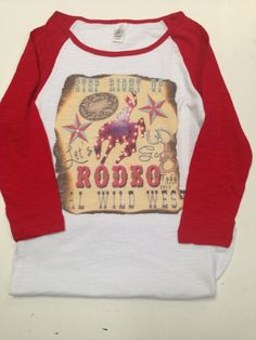 Bling a GoGo - Rodeo Tada on District Red Baseball Sleeve , $56.00 (http://www.bling-a-gogo.com/rodeo-tada-on-district-red-baseball-sleeve/) #western #southern #rodeo #bronc #stars #red #wildwest