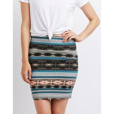 Charlotte Russe Printed Bodycon Mini Skirt ($11) ❤ liked on Polyvore featuring skirts, mini skirts, olive combo, geometric print skirt, army green skirt, charlotte russe, patterned skirts and print skirt