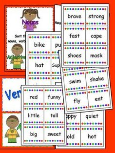 Superhero nouns verbs and adjectives center and posters! $