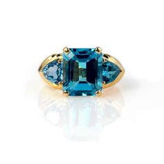 8Ct Blue Topaz 14k Gold Statement Ring