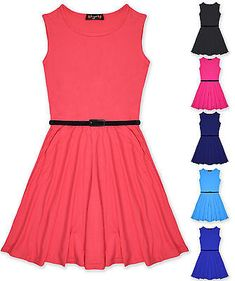 Girls Skater Dress Kids Party Dresses Belted New Age 7 8 9 10 11 12 13 Years 674897c66104