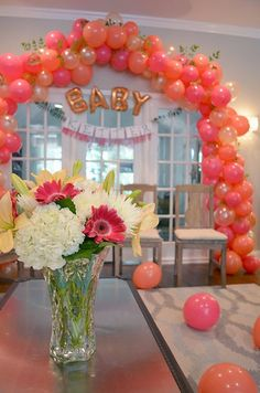 "DIY ""Ready to Pop"" Baby Shower, balloon arch, pink, coral, pearl, peach"