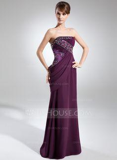 Sheath/Column Strapless Floor-Length Chiffon Charmeuse Evening Dress With Ruffle Beading (017025911) - JJsHouse