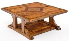 Barnwood Coffee Table with Inlaid Wood & Metal Design - Square - Item # CT03008 - Custom Sizes Available - Made From Salvaged Barnwood #LiquidGoldSalvagedWood