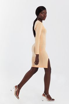 Hem split jersay bodycon mini dress with long sleeves Dress Party, Styling Tips, Wardrobe Staples, Thigh, Knitwear, Peach, High Neck Dress, Nude, Culture
