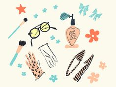 For a Pattern by Danielle Kroll, drawing, illustration, pink, blue, fashion, icons, female