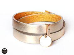 bracelet natural leather gold