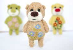 Pocket Flower Bear With Light Blue Daisies. $24.00, via Etsy.