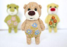 Pocket Flower Bear With Light Blue Daisies. $24.00, via Etsy.