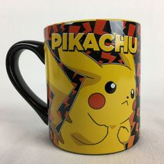NEW 2016 Pokemon Pikachu Red Lightning Bolts Black & Yellow 14 Oz Coffee Mug #Nintendo
