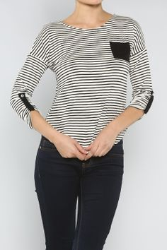Striped Jersey Top #wholesale #winter #boyfriend #jeans #cardigan #sweater #pants #jacket #sweater #fashion #clothing #ootd #wiwt #shopitrightnow #graphics #patterns