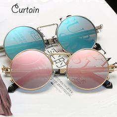 8339cdd9e83 Vintage Round Sunglasses Men Retro Steampunk Sunglasses Coating Mirror  Women Circle Lens Sunglasses Special Legs Glasses UV400-in Sunglasses from  Men s ...
