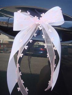15 x Antennenschleife / Autoschleife Aus Taft- und Organzaband ( mit Herzchen ) mehrlagig gebundene Schleife. Farbe : weiß-rosa Größe de...