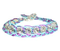 Double Wrap Friendship Bracelet I make these things all the time and I NEVER thought about putting jewels in them!!! What I great idea!