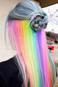 18 Mesmerizing Hidden Rainbow Hair Hidden rainbow hair is the new trend of Secret rainbow hair tresses allow you to be daring and switch to modest whenever you want. This versatile trend is great to experiment with! Hidden Rainbow Hair, Pelo Multicolor, Coloured Hair, Pastel Hair, Purple Hair, Dream Hair, Cool Hair Color, Hidden Hair Color, Crazy Hair