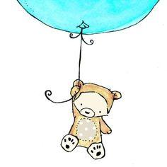 Flying High Bear with an Aqua Splash Balloon by trafalgarssquare, $20.00