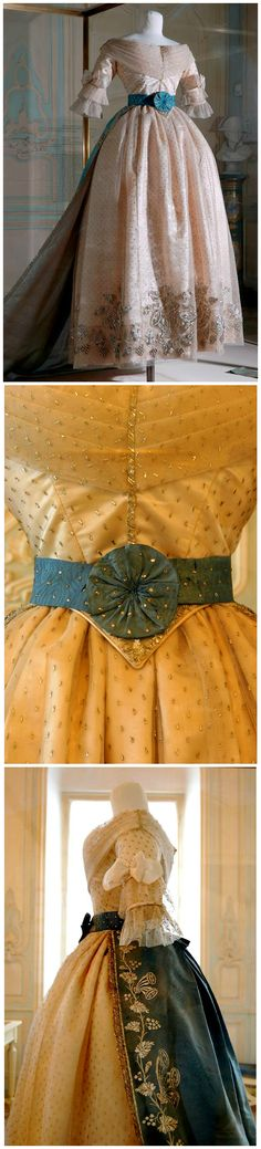 Court dress, possibly made in Paris in 1838. Worn by Marie Louise, Duchess of Parma (1791-1847), Napoleon's second wife and empress consort of the French from 1810 to 1814. Collection of Museo Glauco Lombardi, Parma. Images via Museo Glauco Lombardi on Facebook.