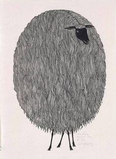 The Sheep, a woodcut by Ukrainian artist Jacques Hnizdovsky