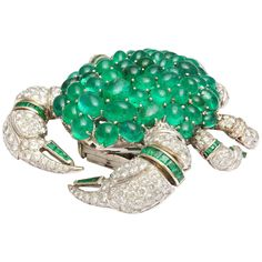 Stunning  Emerald Diamond Gold Crab Brooch | From a unique collection of vintage brooches at https://www.1stdibs.com/jewelry/brooches/brooches/