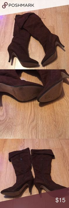 """Chocolate Brown Boots Well used but lots of life left. Size is worn off but they measure about 8"""" in length. The heel is about 3.5"""" and it's about 10.5"""" from the top of the heel to the top of the boot. Shoes Heeled Boots"""