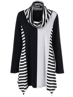 c8fff928f9701 Asymmetrical Plus Size Striped Cowl Neck Tee