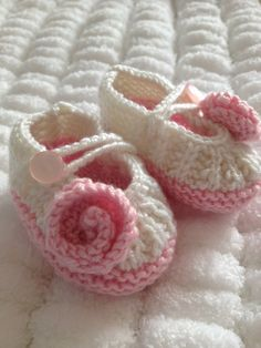 Baby Pink & Winter White Hand knitted Baby by Snugglescuddles, £16.00