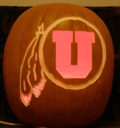 University of Utah- Contact me at kenspumpkinpatch@gmail.com if you are interested in a Ute pumpkin. I am licensed to carve and sell them.